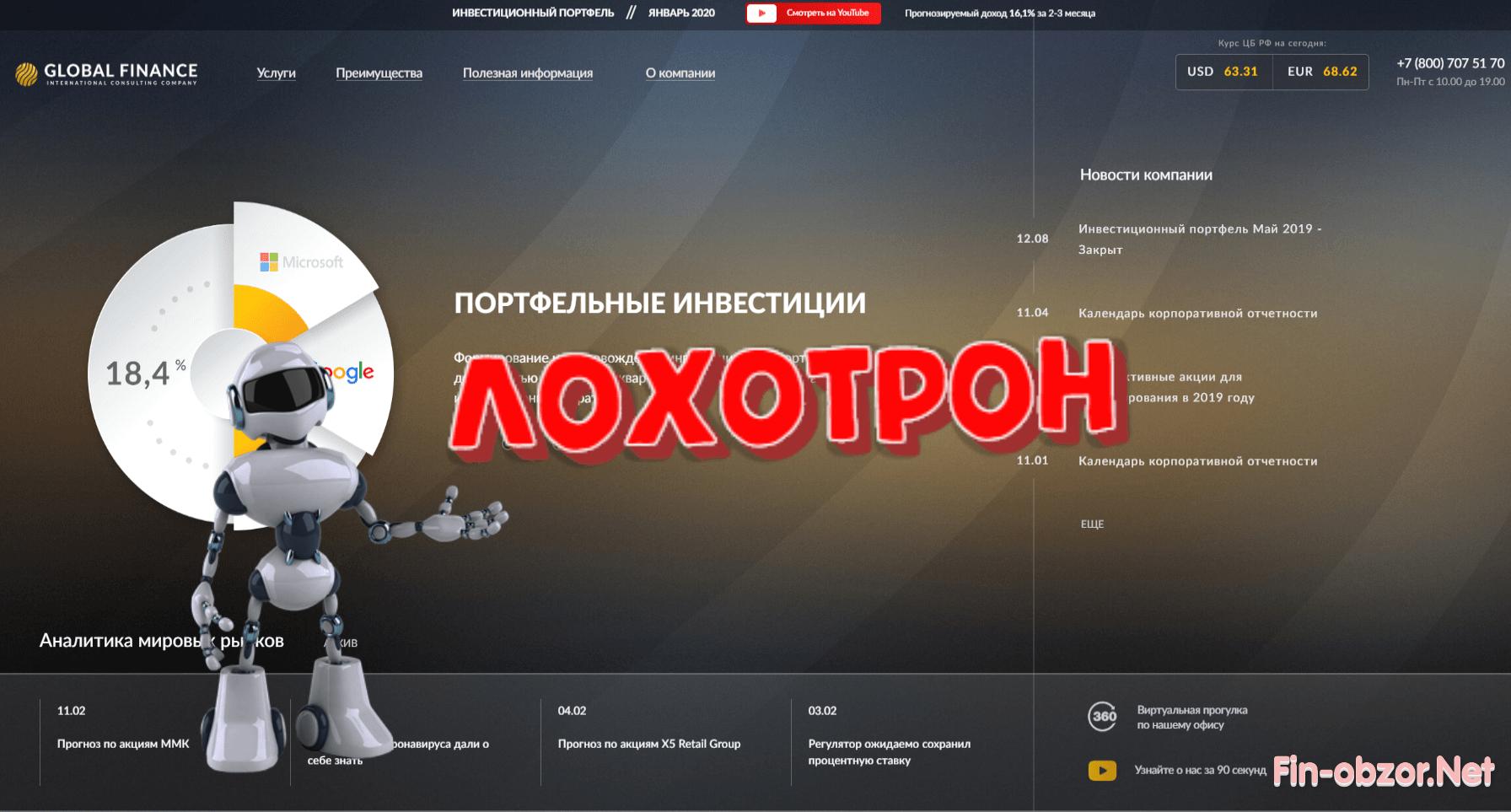 Global Finance - какие отзывы вкладчиков? Инвестиции в акции с glob-finance.ru